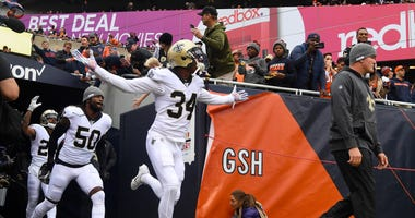 New Orleans Saints defensive back Justin Hardee (34) takes the field before the game against the Chicago Bears at Soldier Field.