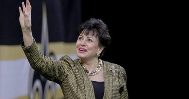 New Orleans Saints owner Gayle Benson waves to fans prior to kickoff against the Atlanta Falcons at the Mercedes-Benz Superdome.