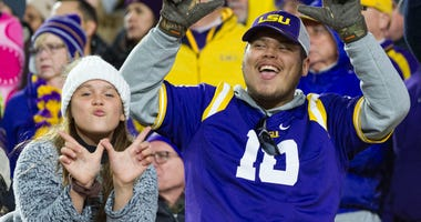 LSU Tigers fans react during the second half against the Mississippi Rebels at Vaught-Hemingway Stadium.
