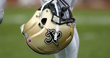A detail view of New Orleans Saints helmet during the second half at Raymond James Stadium.