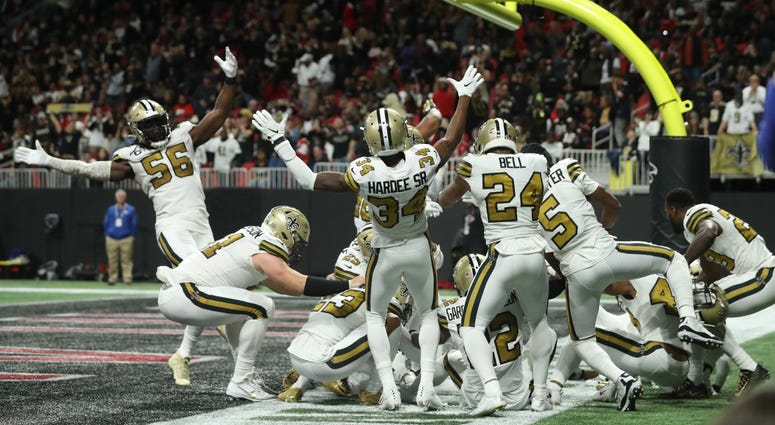 Saints celebrate in endzone