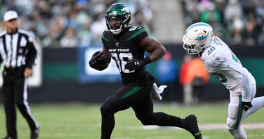 New York Jets wide receiver Ty Montgomery (88) rushes against the Miami Dolphins in the second half. The Jets defeat the Dolphins 22-21 on Sunday, Dec. 8, 2019, in East Rutherford.