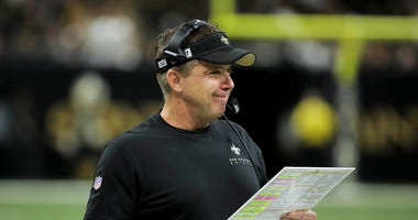 New Orleans Saints head coach Sean Payton on the sideline during the first half at against the Indianapolis Colts the Mercedes-Benz Superdome.