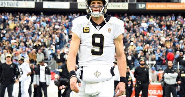 New Orleans Saints quarterback Drew Brees (9) before the game against the Tennessee Titans at Nissan Stadium.