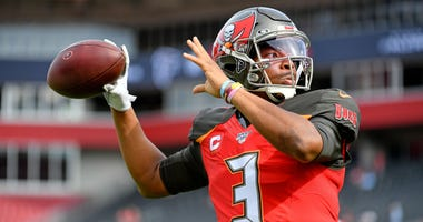 Tampa Bay Buccaneers quarterback Jameis Winston (3) warms up prior to the game against the Atlanta Falcons at Raymond James Stadium.