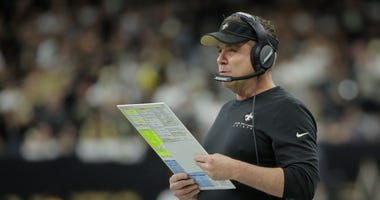 New Orleans Saints head coach Sean Payton looks on during the first quarter of a NFC Wild Card playoff football game against the Minnesota Vikings at the Mercedes-Benz Superdome.
