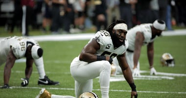 New Orleans Saints outside linebacker Demario Davis (56) before kickoff of a NFC Wild Card playoff football game against the Minnesota Vikings at the Mercedes-Benz Superdome.