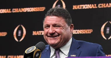 LSU Tigers coach Ed Orgeron during the CFP National Championship champions press conference at the Sheraton New Orleans. LSU defeated Clemson 42-25.