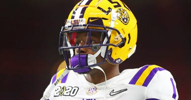 LSU Tigers cornerback Kristian Fulton (1) against the Clemson Tigers in the College Football Playoff national championship game at Mercedes-Benz Superdome.