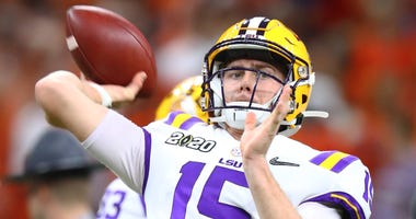 LSU Tigers quarterback Myles Brennan (15) against the Clemson Tigers in the College Football Playoff national championship game at Mercedes-Benz Superdome.