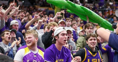 LSU Tigers fans react during the second half against the Florida Gators at Maravich Assembly Center.