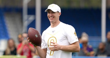 New Orleans Saints quarterback Drew Brees (9) during NFC practice at ESPN Wide World of Sports.