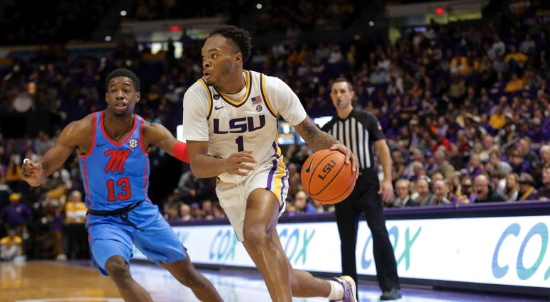 LSU Tigers guard Javonte Smart (1) drives past Mississippi Rebels guard Bryce Williams (13) during the second half at the Maravich Assembly Center.