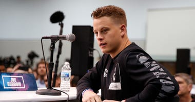 LSU Tigers quarterback Joe Burrow speaks to the media during the NFL Combine at the Indiana Convention Center.
