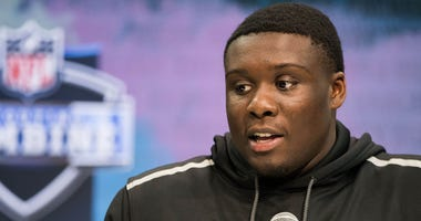 Louisiana State offensive lineman Lloyd Cushenberry (OL13) speaks to the media during the 2020 NFL Combine in the Indianapolis Convention Center.