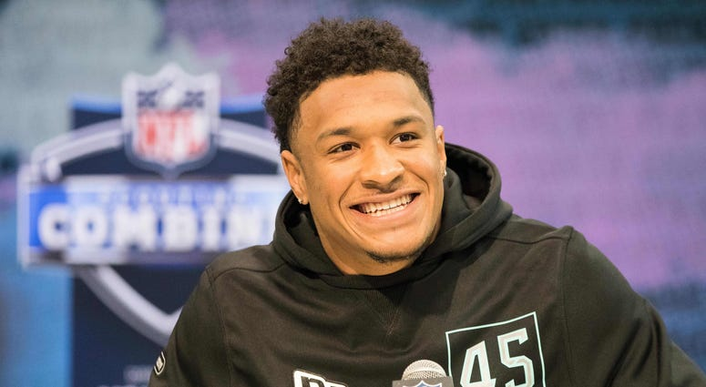 Louisiana State defensive back Grant Delpit (DB45) speaks to the media during the 2020 NFL Combine in the Indianapolis Convention Center.