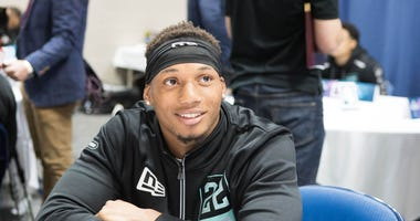 Tulane defensive back Bopete Keyes (DB22) speaks to the media during the 2020 NFL Combine in the Indianapolis Convention Center.