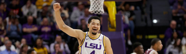 LSU Tigers guard Skylar Mays (4) reacts to a play in the final minute against Texas A&M Aggies during the second half at Maravich Assembly Center.