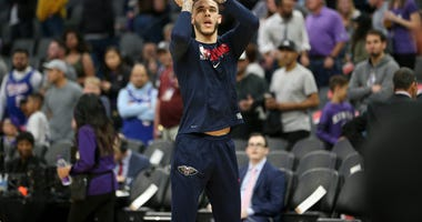 New Orleans Pelicans guard Lonzo Ball (2) warms up before the start of the game against the Sacramento Kings at the Golden 1 Center.