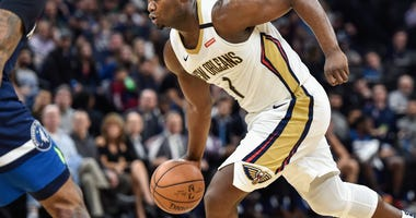 Minneapolis, Minnesota, USA; New Orleans Pelicans forward Zion Williamson (1) in action against the Minnesota Timberwolves at Target Center.