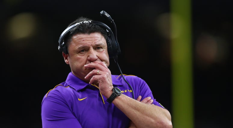 LSU Tigers head coach Ed Orgeron reacts against the Clemson Tigers second quarter in the College Football Playoff national championship game at Mercedes-Benz Superdome.