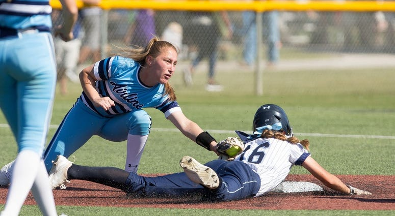 Airline's Caroline Easom tags a runner in a game last season. The senior was recently named to the LHSAA Composite All-Academic Team.