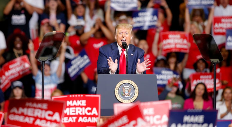President Trump at his rally in Tulsa