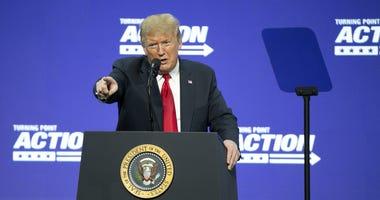President Trump at a podium