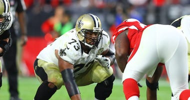 New Orleans Saints guard Jahri Evans (73) against the Arizona Cardinals at University of Phoenix Stadium. The Saints defeated the Cardinals 48-41.