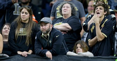 Saints fans totally dejected after last second field goal gives the 49ers the win