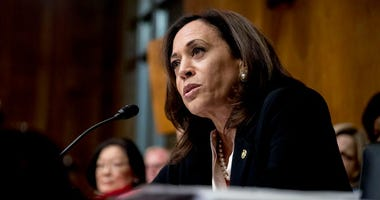 Sen. Kamala Harris, D-Calif., speaks as Attorney General William Barr testifies during a Senate Judiciary Committee hearing on Capitol Hill in Washington, Wednesday, May 1, 2019, on the Mueller Report. (AP Photo/Andrew Harnik)