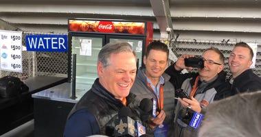 Mickey Loomis speaks to media members at the Reeses Senior Bowl.