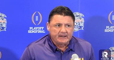 LSU head coach Ed Orgeron speaks to media Dec. 23.