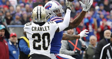 Nov 12, 2017; Orchard Park, NY, USA; New Orleans Saints cornerback Ken Crawley (20) breaks up a pass to Buffalo Bills wide receiver Kelvin Benjamin (13) during the first half at New Era Field.