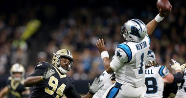Dec 3, 2017; New Orleans, LA, USA; New Orleans Saints defensive end Cameron Jordan (94) pressures Carolina Panthers quarterback Cam Newton (1) in the second half at the Mercedes-Benz Superdome