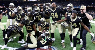 Dec 17, 2017; New Orleans, LA, USA; The New Orleans Saints defense poses for a photo after cornerback Marshon Lattimore (23) intercepted a pass on the last play of the game against the New York Jets at the Mercedes-Benz Superdome. The Saints won, 31-19.