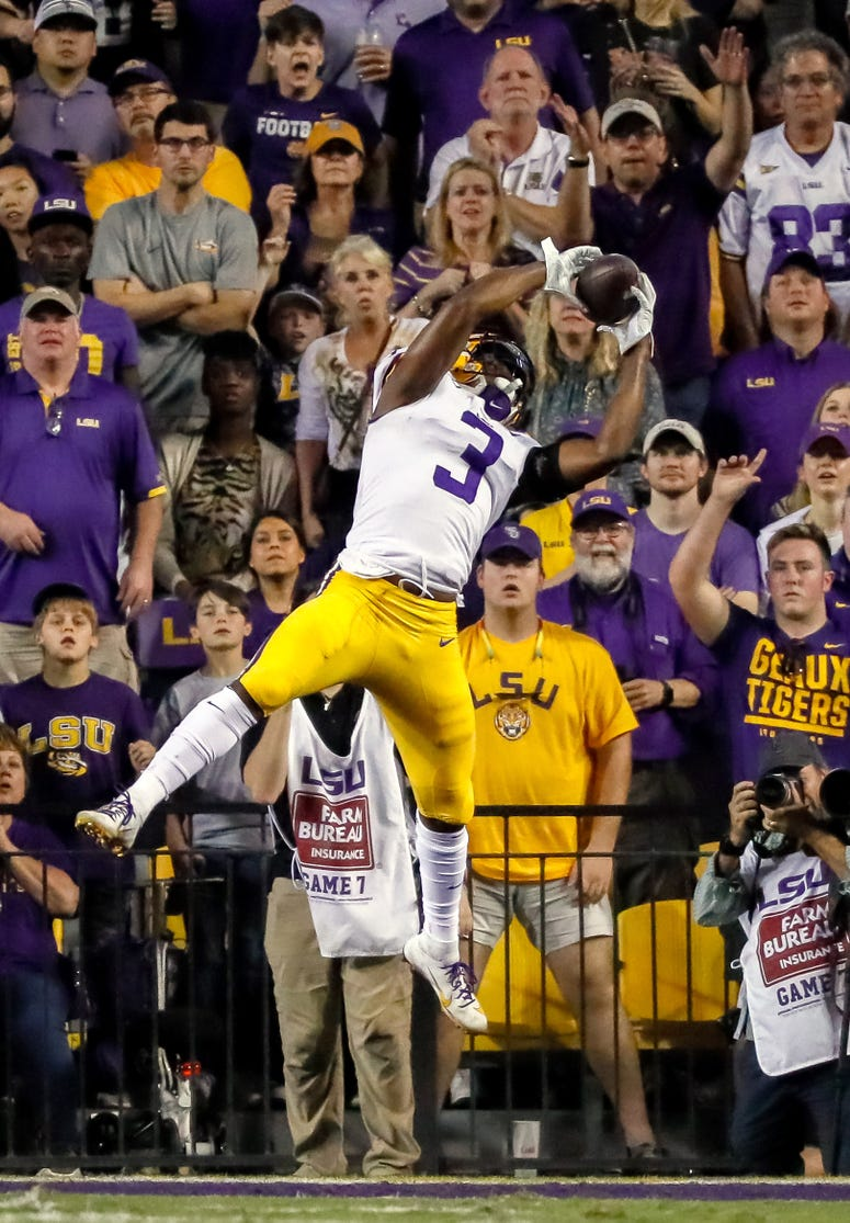 LSU Tigers safety JaCoby Stevens (3) intercepts a pass against Texas A&M Aggies quarterback Kellen Mond (not pictured) during the second half at Tiger Stadium.
