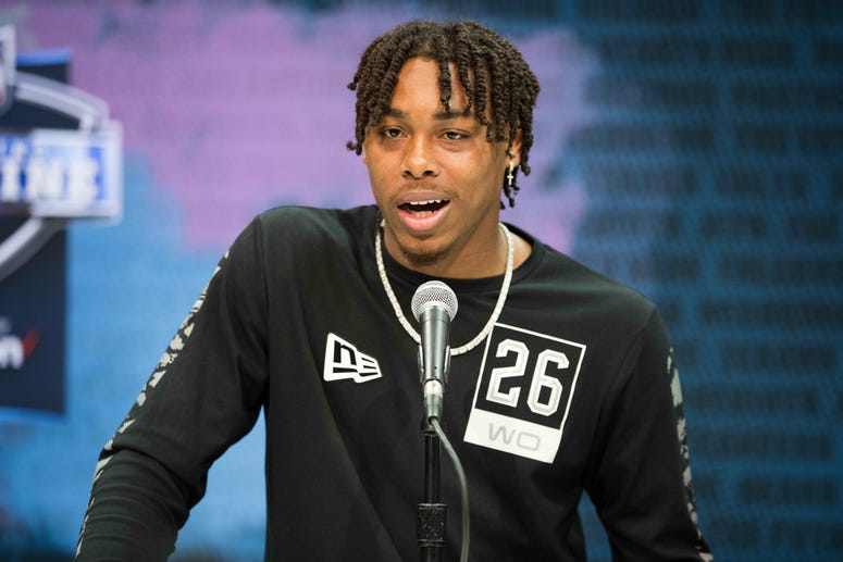 Louisiana State wide receiver Justin Jefferson (WO26) speaks to the media during the 2020 NFL Combine in the Indianapolis Convention Center.