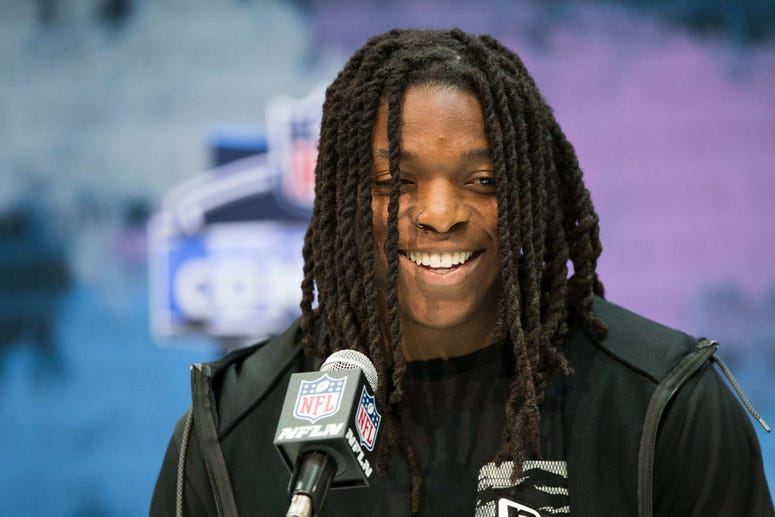 Colorado wide receiver Laviska Shenault Jr (WO49) speaks to the media during the 2020 NFL Combine in the Indianapolis Convention Center.