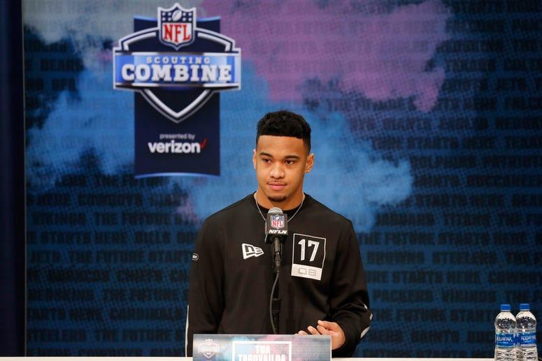 Alabama Crimson Tide quarterback Tua Tagovailoa speaks to the media during the NFL Combine at the Indiana Convention Center.