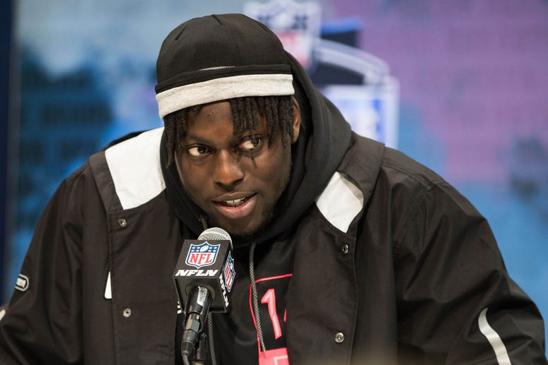 South Carolina defensive lineman Javon Kinlaw (DL14) speaks to the media during the 2020 NFL Combine in the Indianapolis Convention Center.