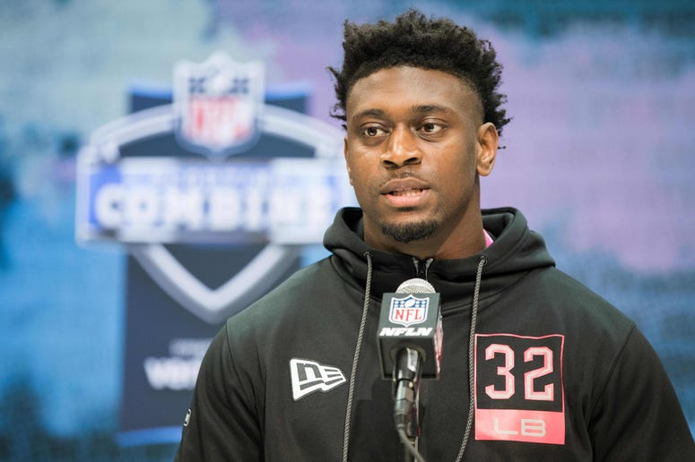 Louisiana State linebacker Patrick Queen (LB32) speaks to the media during the 2020 NFL Combine in the Indianapolis Convention Center.