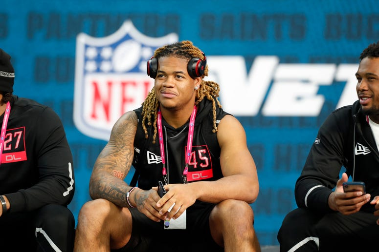 Ohio State Buckeyes defensive lineman Chase Young (DL45) watches from the sidelines during the 2020 NFL Combine at Lucas Oil Stadium.