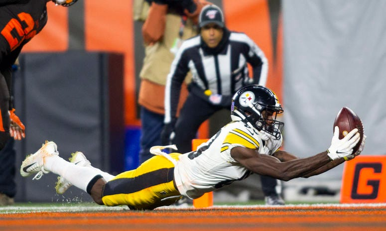 Pittsburgh Steelers wide receiver Johnny Holton (80) drops the ball as he dives in the end zone during the fourth quarter against the Cleveland Browns at FirstEnergy Stadium. The Browns won 21-7.