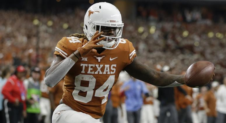 Dec 1, 2018; Arlington, TX, USA; Texas Longhorns wide receiver Lil'Jordan Humphrey (84) reacts to scoring a touchdown in the fourth quarter against the Oklahoma Sooners in the Big 12 championship game at AT&T Stadium