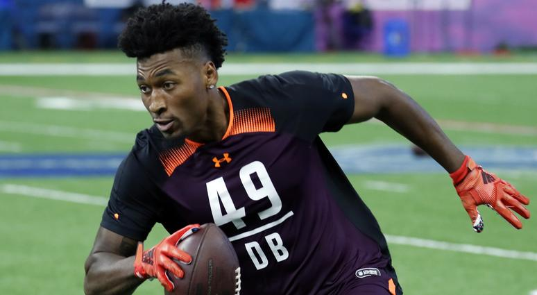 Mar 4, 2019; Indianapolis, IN, USA; Rutgers defensive back Saquan Hampton (DB49) goes through workout drills during the 2019 NFL Combine at Lucas Oil Stadium.