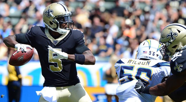 Aug 18, 2019; Carson, CA, USA; New Orleans Saints quarterback Teddy Bridgewater (5) looks to pass during the second quarter against the Los Angeles Chargers at Dignity Health Sports Park.