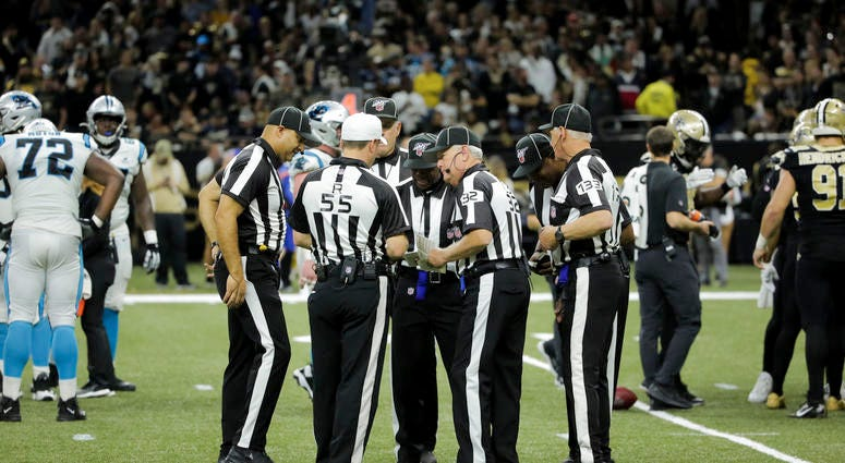 NFL officials during the Saints/Panthers game