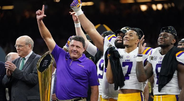 Ed Orgeron, LSU Tigers celebrate after national championship
