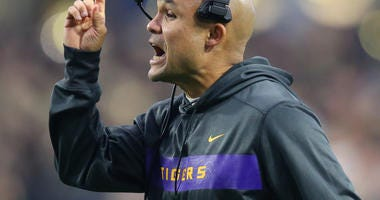 LSU Tigers defensive coordinator Dave Aranda reacts against the UCF Knights in the 2019 Fiesta Bowl at State Farm Stadium.